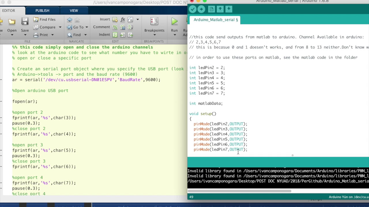 Send data to Arduino from Matlab