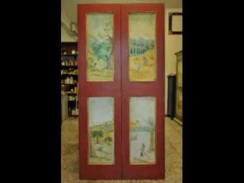 Porta Dipinta Laccatura Doratura E Decorazione Di Una Vecchia