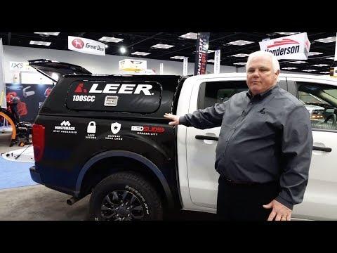 2019 Ford Ranger with Leer's new 100SCC commercial cap & BedSlide storage platform