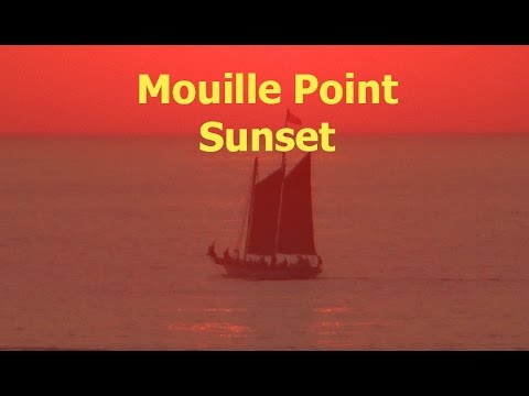 Mouille Point Scenes: Sunsets and Moon over Mouille Point - Cape Town