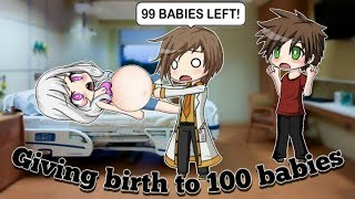 Giving birth to 100 babies | short mini movie | Gacha studio