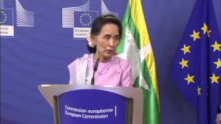 EU clashed with Aung San Suu Kyi at a news conference