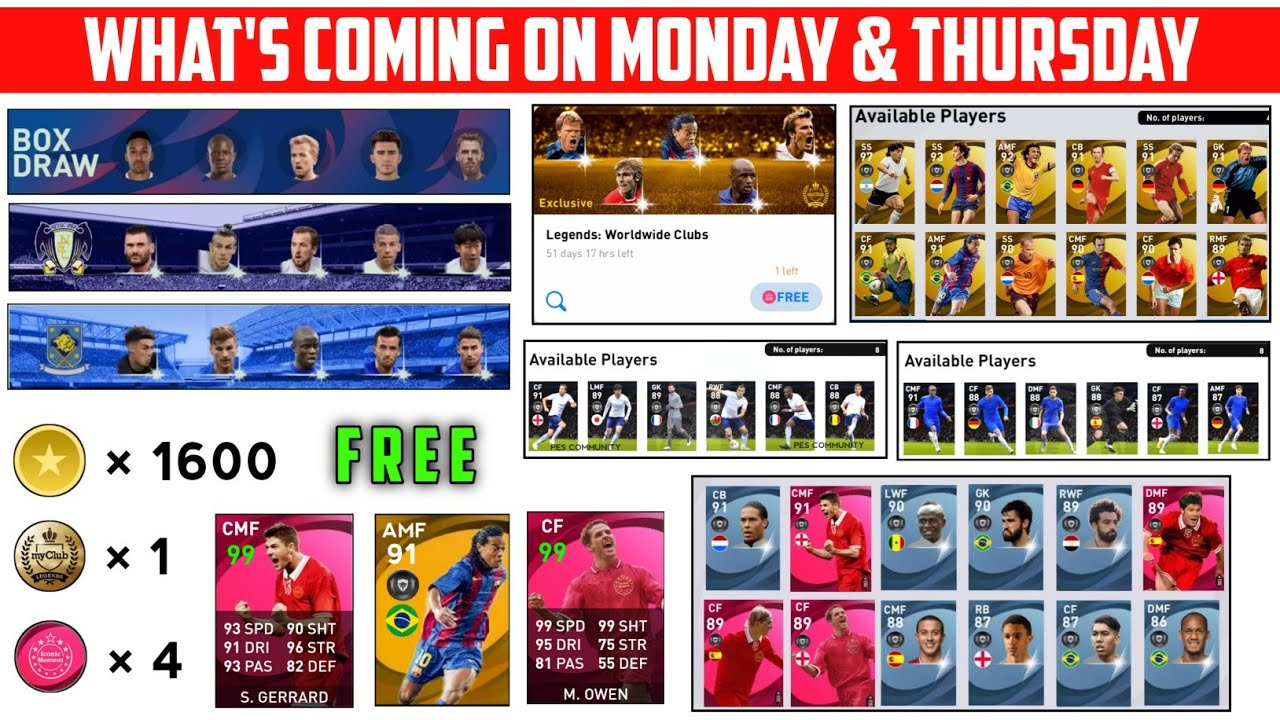 WHAT'S COMING ON THIS MONDAY AND THURSDAY | 1600 COINS , LEGENDS ,ICONIC MOMENTS | PES 2021 MOBILE