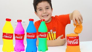 Yusuf making color soda bottle