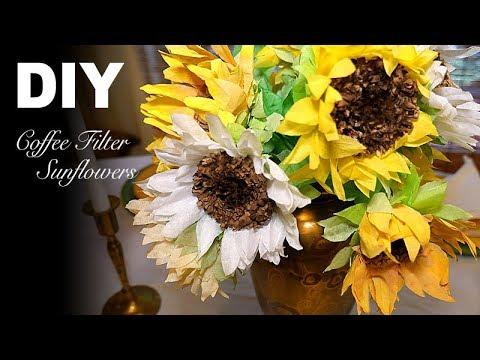 DIY   Simple Realistic Sunflowers - Coffee Filter Flowers
