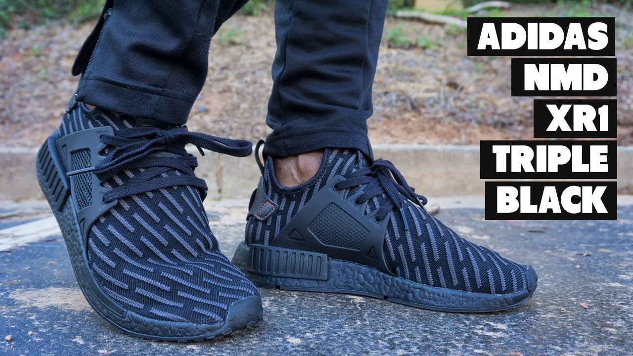 7b801e8067272 YouTubeversary Special adidas NMD XR1 Triple Black Review + On Foot ...