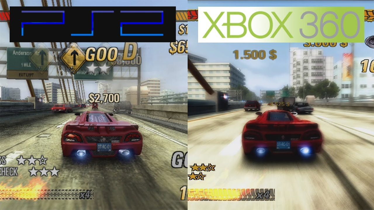 burnout revenge ps2 vs 360 graphics comparison comparativa youtube. Black Bedroom Furniture Sets. Home Design Ideas