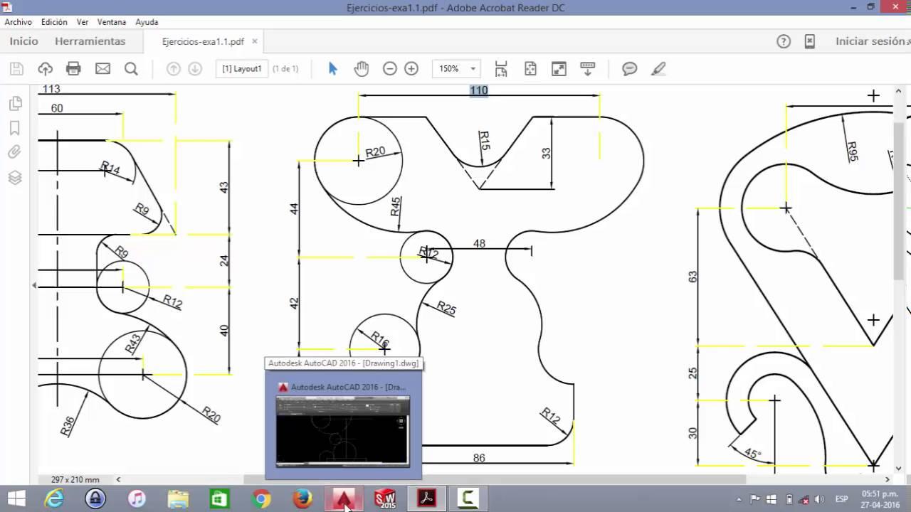 Ejercicio b sico de autocad para dibujo mecanico 2 youtube for Paginas para hacer planos 3d
