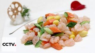 Китайская кухня: Жареные креветки с морковью и огурцом