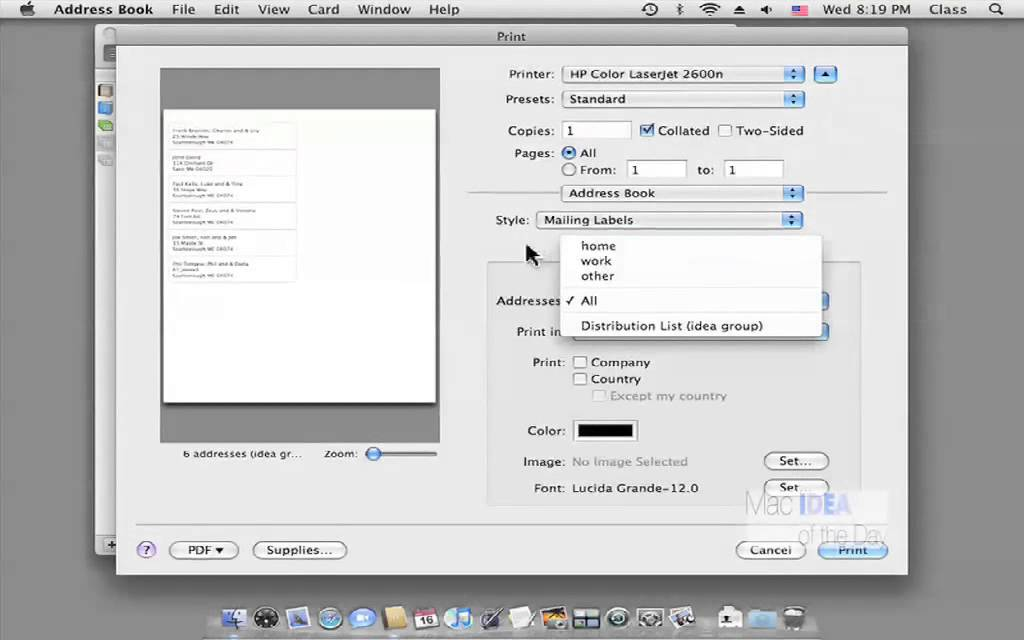 printing labels on mac from address book