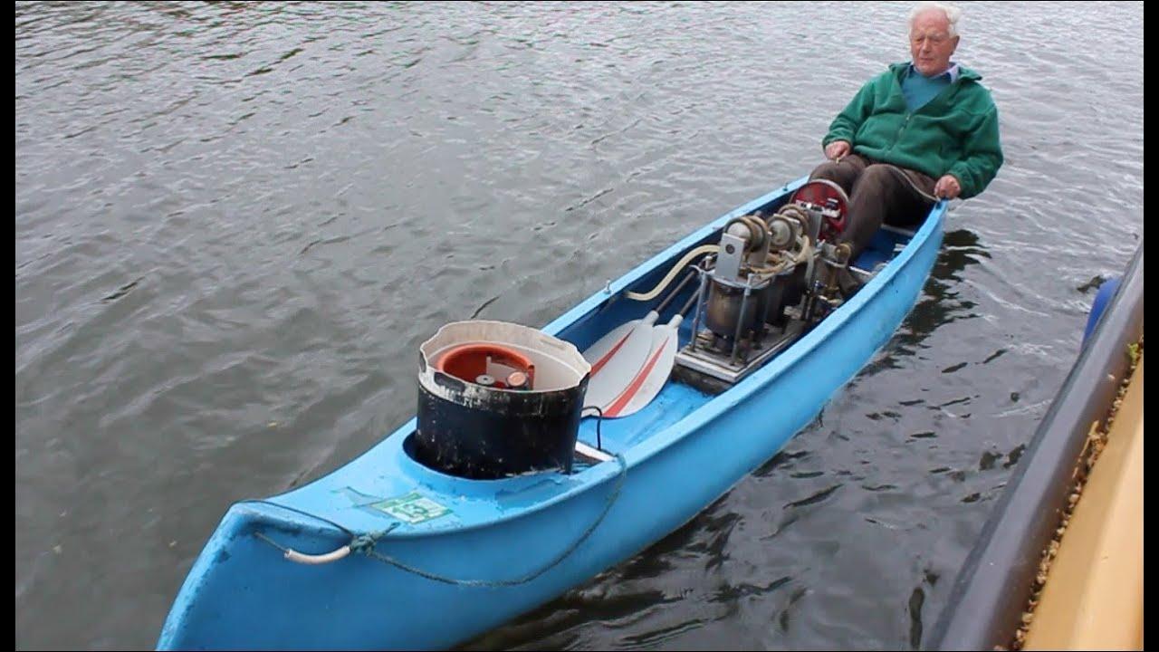 Triple R Motors >> Julian Woods' triple transferator Stirling Engine powered canoe - YouTube
