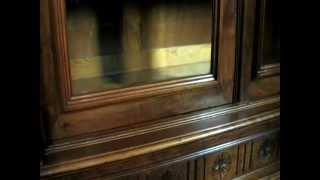Flawless French Solid Walnut Henry Ii Period Bookcase/display Cabinet - C.1900's