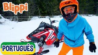 Blippi Aprende Sobre Motos de Neve   Vídeos Educativos para Crianças   As Aventuras de Blippi