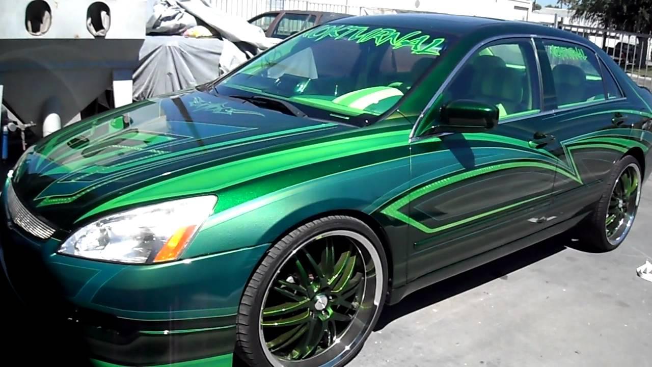 Curlys Pinstriping Green Honda Accord Graphics Youtube