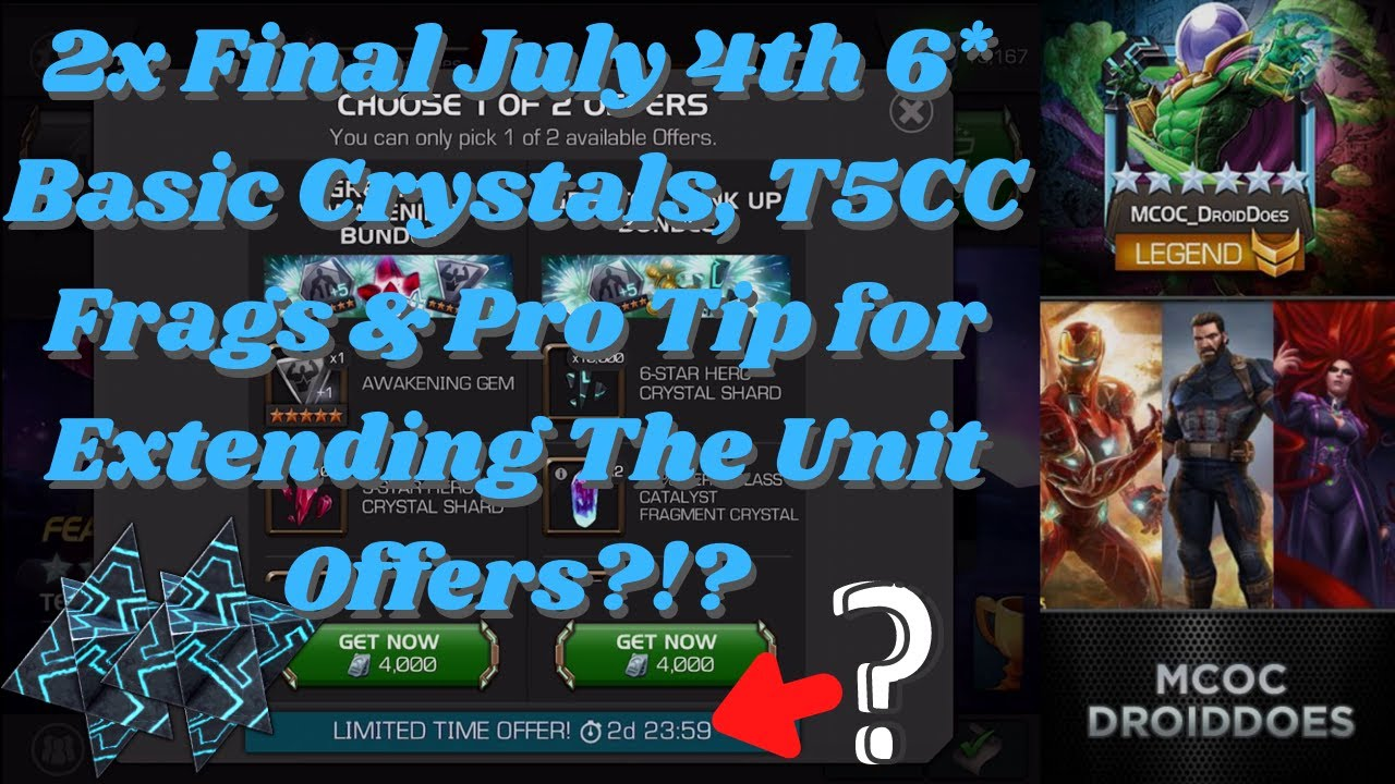 2x Final July 4th 6* Basic Crystals, T5CC Frags & Pro Tip for Extending The Unit Offers?!? #MCOC