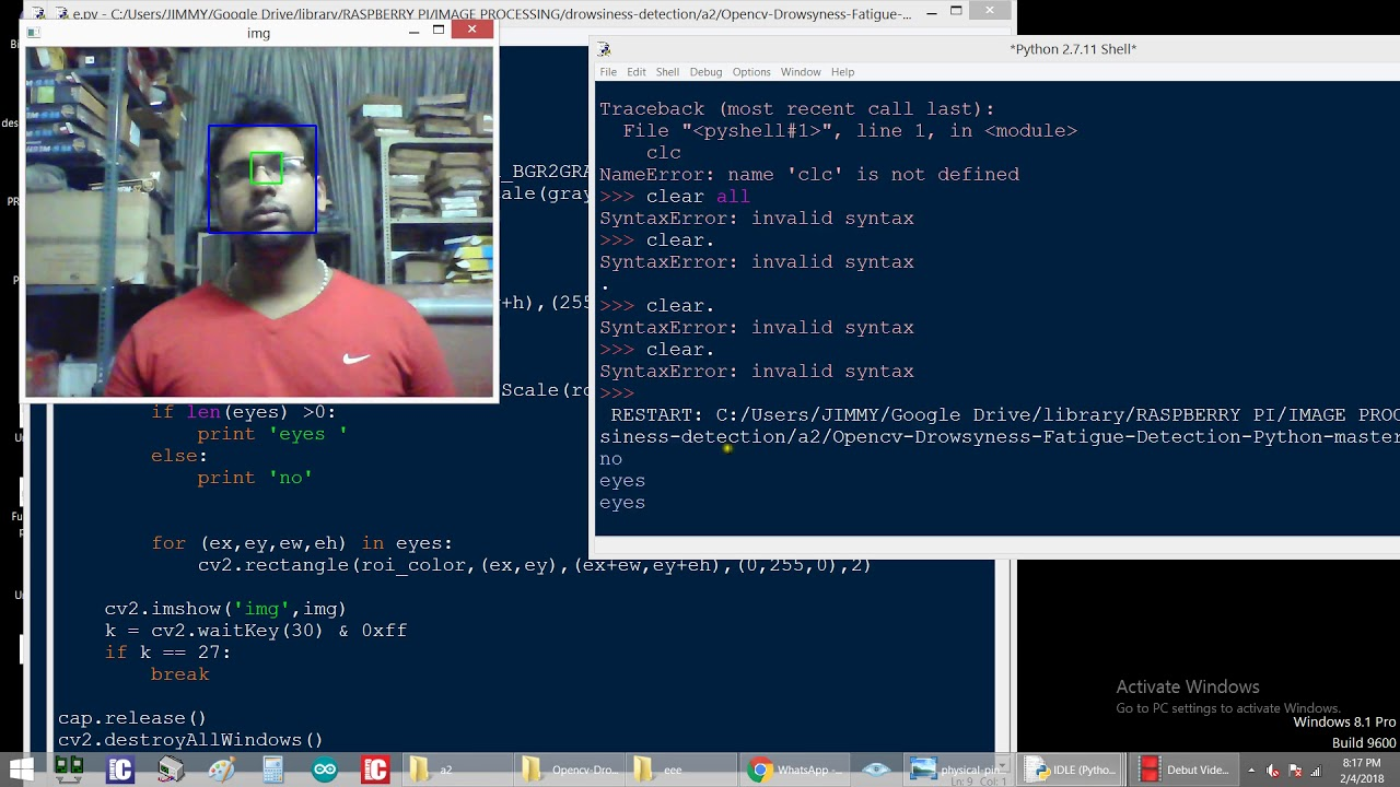 Drowsiness Or Eye Detection In Opencv Python Raspberry Pi