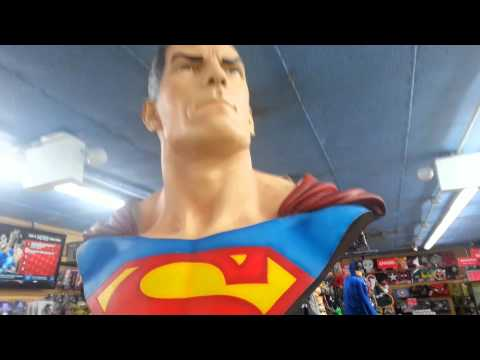 Superman life size bust in local comic store