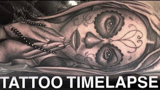 TATTOO TIME LAPSE | DAY OF THE DEAD GIRL CATRINA | CHRISSY LEE