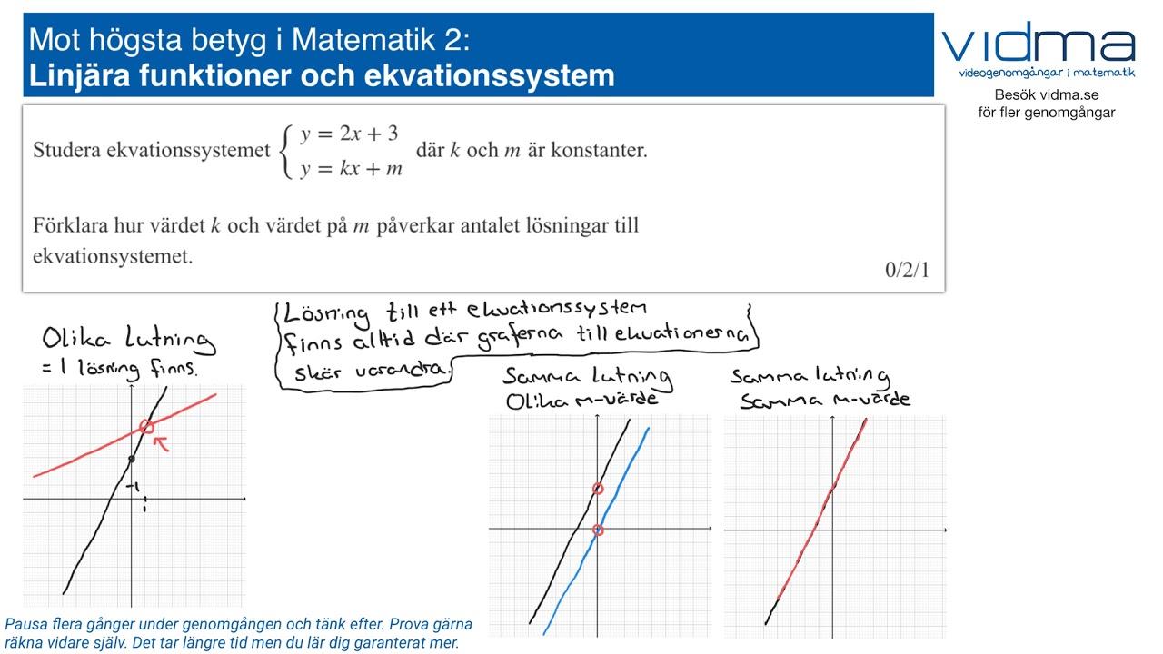 Mot högsta betyg i Matematik 2: LINJÄRA FUNKTIONER, EKVATIONSSYSTEM, upg. 3.