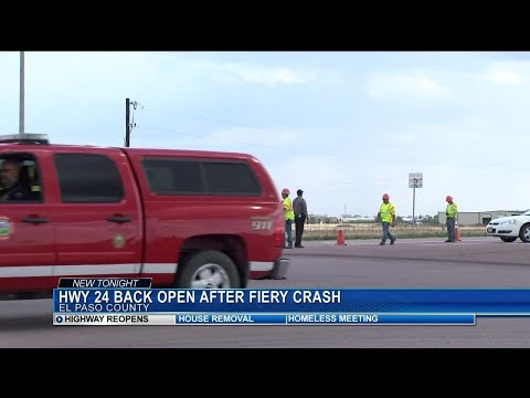 Highway 24 reopened following crash, vehicle fire and hours-long closure