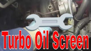 Service update Turbo oil feed line banjo bolt screen clean Subaru WRX STi 2004 SVTWRC