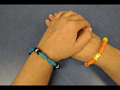 Браслет из бумажных бусинок. Paper bead bracelet