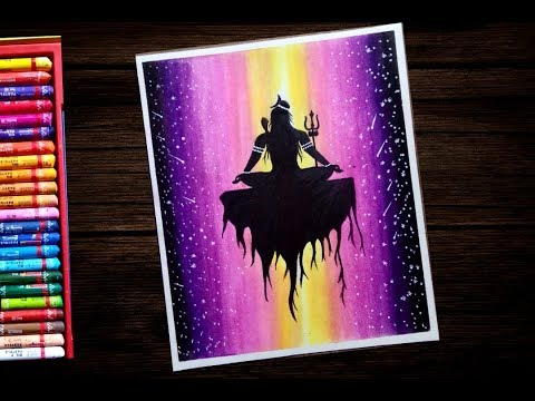 How To Draw Lord Shiva With Oil Pastels For Beginners Step By Step