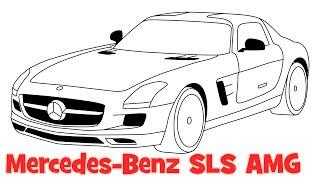 How to draw a car Mercedes Benz SLS AMG step by step - Как нарисовать машину Мерседес
