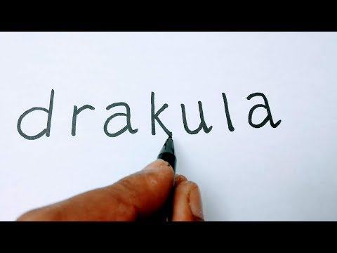 Cara menggambar DRAKULA dari kata DRAKULA, how to turn words dracula into dracula