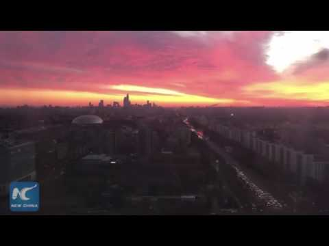 Timelapse of clouds on pink sky at sunrise in Beijing