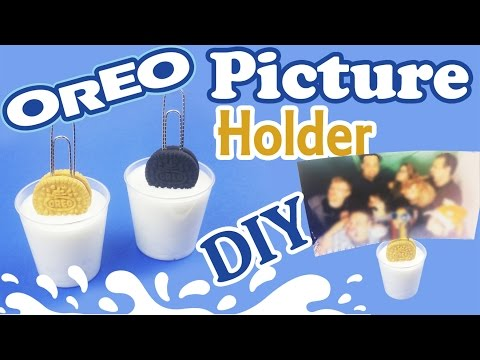 DIY MINIATURE OREO & MILK PICTURE HOLDER polymer clay & resin tutorial - how to make mini oreo craft