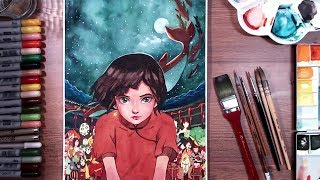 Big Fish & Begonia (大鱼海棠) - watercolor & marker | drawholic