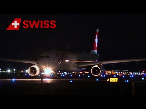 BEAUTIFUL NIGHT TAKEOFF ○ AIR SWISS AIRBUS A330 ○ MONTREAL AIRPORT