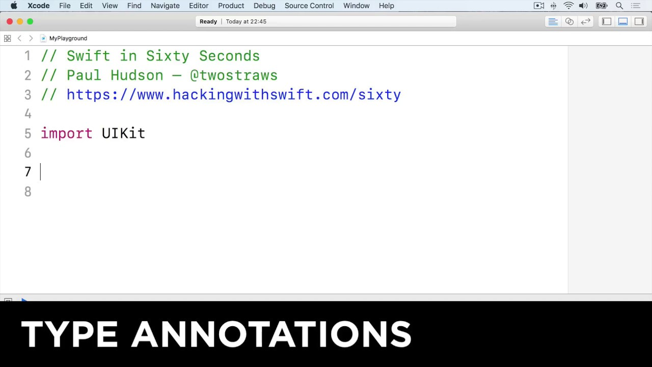 Type annotations – Swift in Sixty Seconds