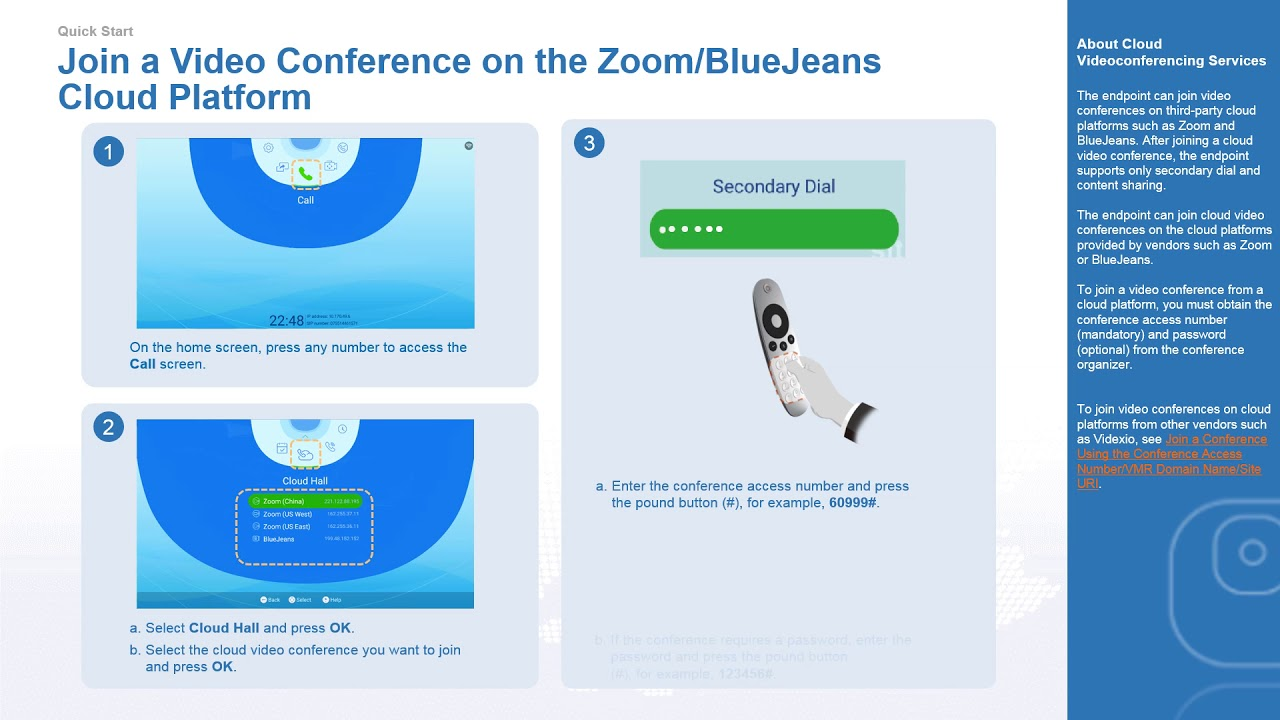 Huawei TE10 and TE20 Operation: Join a Video Conference on the  ZoomBlueJeans Cloud Platform