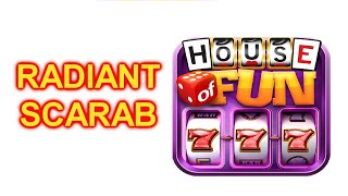 """HOUSE OF FUN Casino Slots Game How To Play """"RADIANT SCARAB"""" Cell Phone Big Win"""
