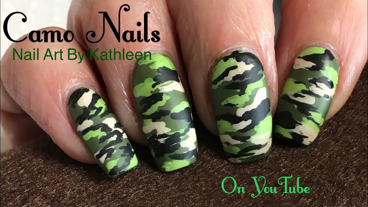 Matte Camo Nails - Easy Camouflage Nail Art - Matte Camo Nails - Easy Camouflage Nail Art - YouTube