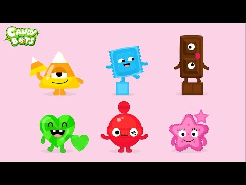 Thumbnail: Candy Shapes (Candybots) - Draw 6 basic shapes circle, square, rectangle - Apps for Kids