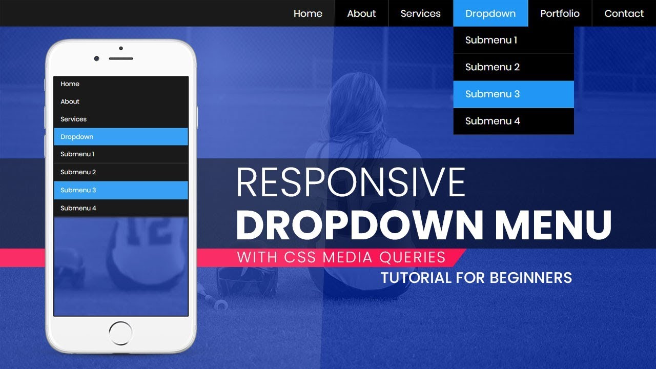 Responsive Dropdown Navigation Bar with HTML and CSS | CSS Responsive Menu