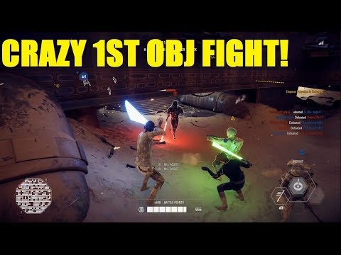 Star Wars Battlefront 2 - Crazy 15 minute fight on 1st objective! | REY and Yoda! thumbnail