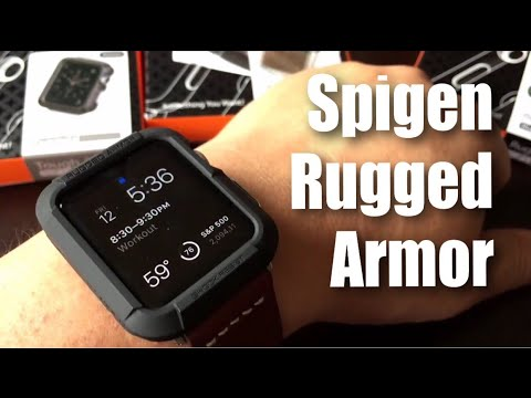 detailed look 52d9b 55dde Spigen Rugged Armor black protector case for the 42mm Apple Watch