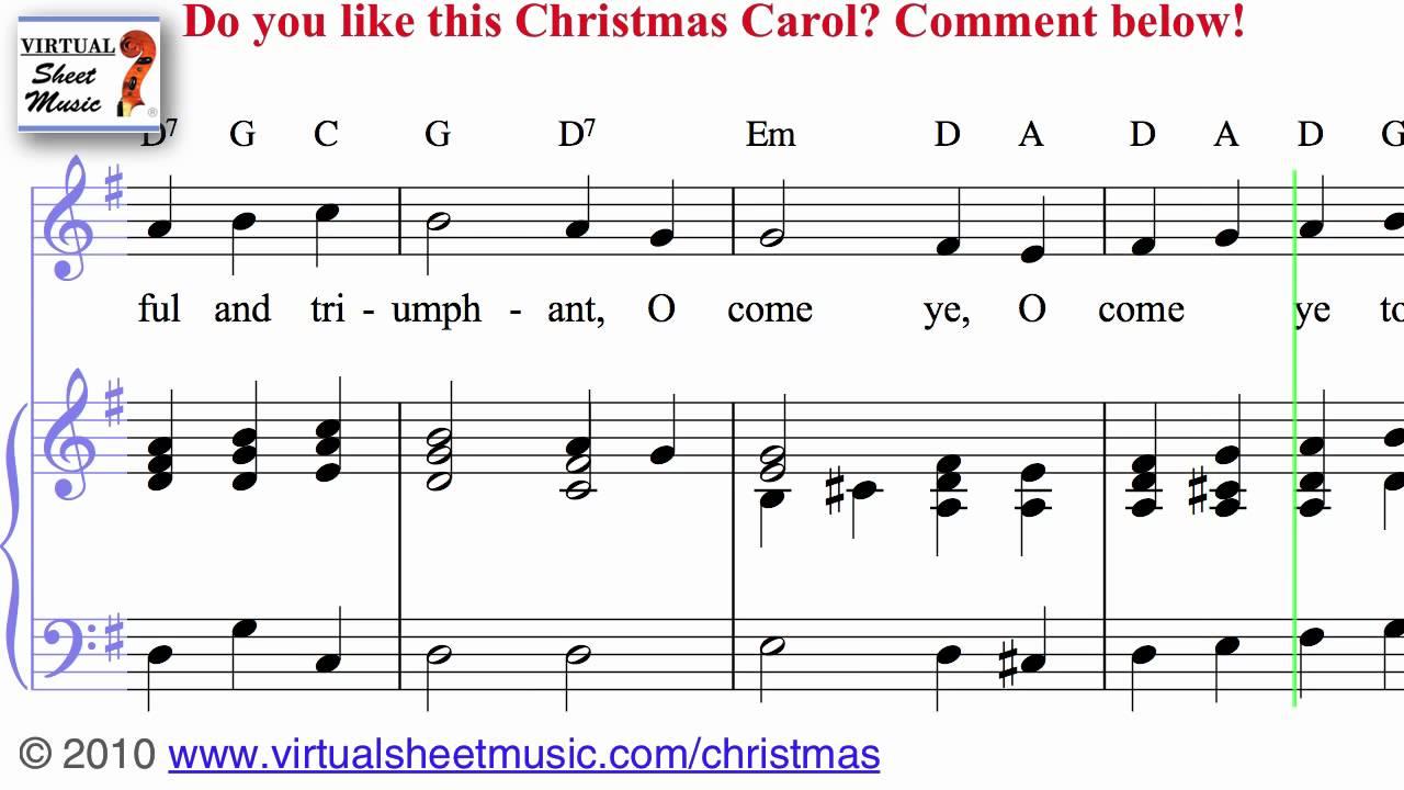 O Come All Ye Faithful Sheet Music and Carol - Christmas Sheet Music Video Score - YouTube