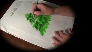 Как научить ребенка рисовать елочку красками. How to draw Christmas tree(Простой способ как нарисовать ёлочку красками. Понятно и доступно для детей. --------------------------------------------------------..., 2015-06-01T14:34:22.000Z)