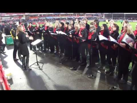 The Innsworth Military Wives entertain the Kingsholm crowd