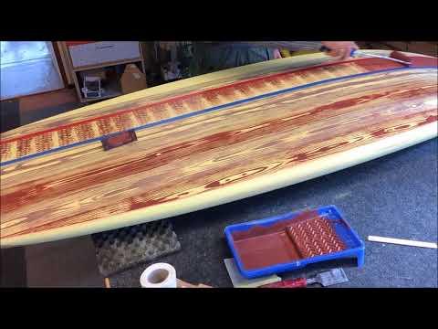 Turn a surfboard into wood. Custom painted faux wood grain. DIY