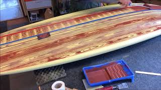 Turn a surfboard into wood. Custom painted faux wood grain. DIY