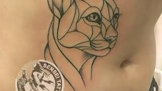 Татуировка кошки в лайнворке, художественное тату Днепр