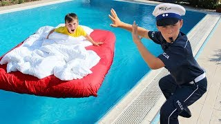 Ali Pretend Sleeping in the Bed in Our Swimming Pool! Fun for kids video