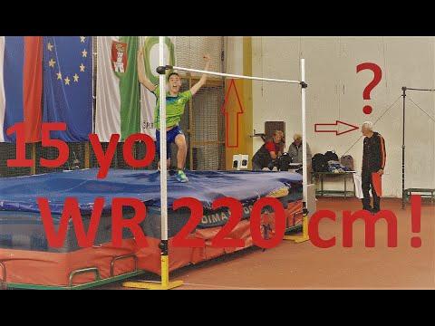 "Sandro Tomassini (SLO) 15 years old 220 cm High Jump 7'2½"" WORLD RECORD U16 Prvenstvo Ljubljane 2019"