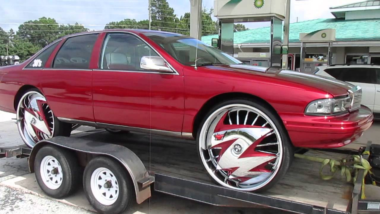 "Kandy Red Chevy Caprice on 30"" Dub Floaters - YouTube"